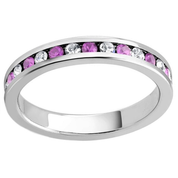 Rhodium-plated White and Pink Cubic Zirconia Birthstone Eternity Band