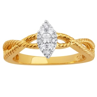 10k Two-tone Gold 1/6ct TDW Marquise Shaped Cluster Diamond Top Engagement Ring (H-I, I1-I2)