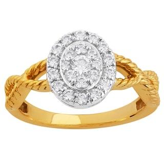 10k Two-tone Gold 1/2ct TDW Oval Diamond Halo Twisted Shank Engagement Ring (H-I, I1-I2)