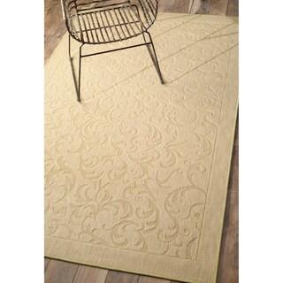 nuLOOM Solid Floral Scroll Jute Beige Rug (9' x 12')