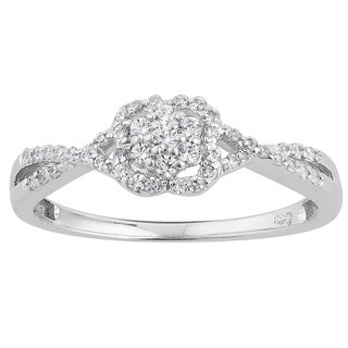 10k White Gold 1/4ct TDW Diamond Clover Halo Split Shank Promise Ring (H-I, I1-I2)