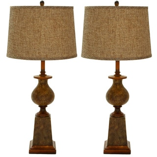 Navarro Polystone Rustic Table Lamp - Set of 2 - 3 Way