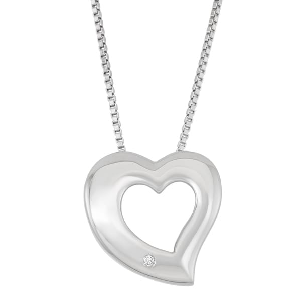 Boston Bay Diamonds Sterling Silver Diamond Accent Open Heart Pendant