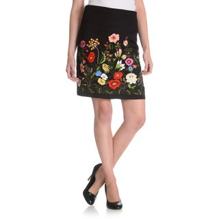 La Cera Women's Floral Embroidered Mini Skirt