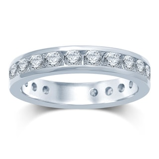 14k Gold 2ct TDW Machine-set Round Diamond Eternity Band (H1 , I1-I2)