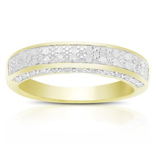 Finesque Sterling Silver or Gold over Silver 1/3 ct TDW Diamond Band Ring