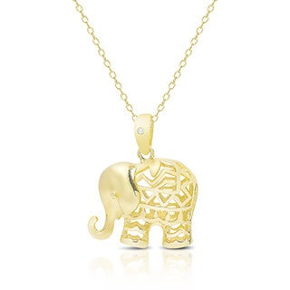 Diamond Accent Elephant Necklace With Red Bow Gift Box