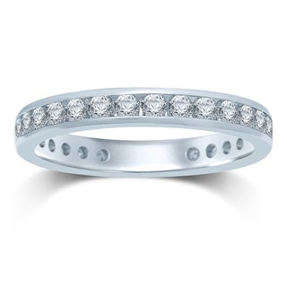 14k Gold 1ct TDW Machine-set Round Diamond Eternity Band ( HI , I1-I2)