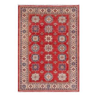 Herat Oriental Afghan Hand-knotted Tribal Kazak Red/ Ivory Wool Rug (10'3 x 14'5)