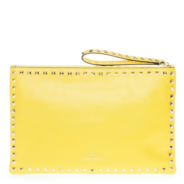 Valentino Rockstud Leather Clutch Yellow