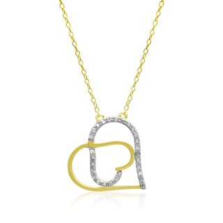 1/5 Carat Diamond Double Heart Necklace In 14 Karat Yellow Gold Over Sterling Silver, 18 Inches (J-K, I1-I2)