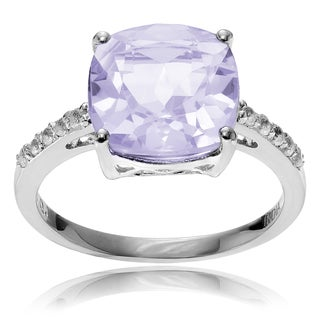 Journee Collection Rhodium-plated Sterling Silver Pink Amethyst Topaz Ring