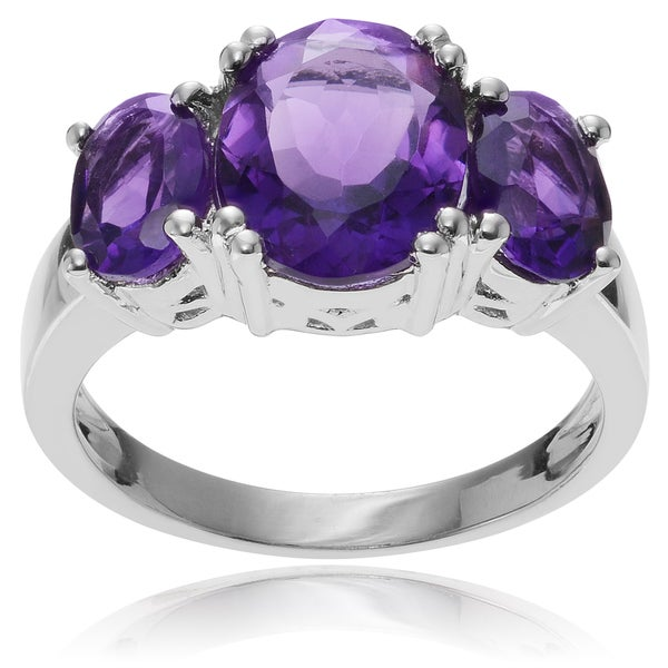 Journee Collection Rhodium-plated Sterling Silver 3-stone Amethyst Ring