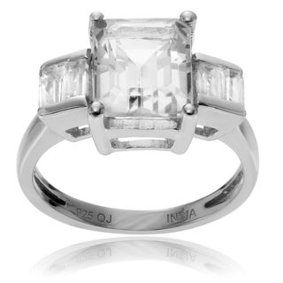 Journee Collection Rhodium-plated Sterling Silver Quartz Topaz 3-stone Ring