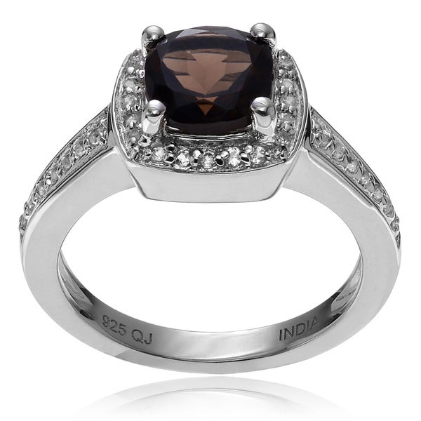 Journee Collection Rhodium-plated Sterling Silver Smoky White Topaz Ring
