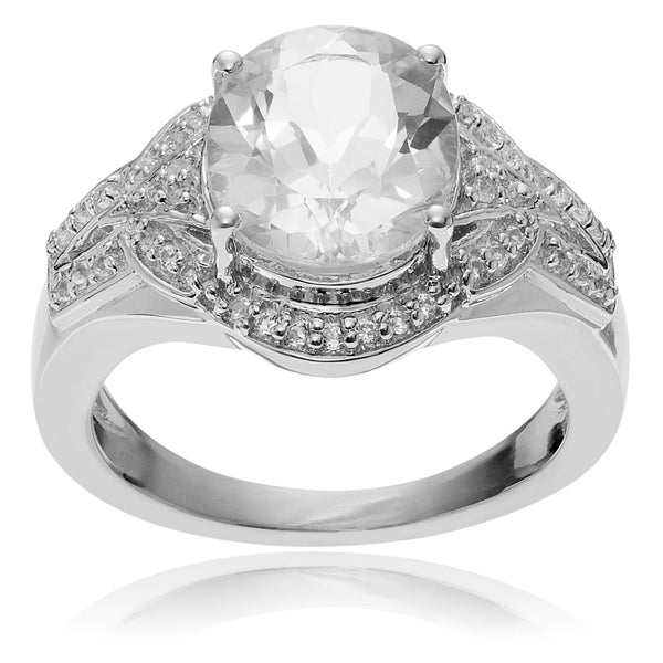 Journee Collection Rhodium-plated Sterling Silver Crystal Quartz Topaz Ring