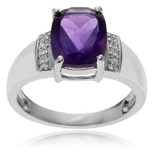 Journee Collection Rhodium-plated Sterling Silver Topaz Amethyst Ring