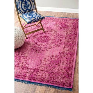 nuLOOM Hand Knotted Vintage Wool Pink Rug (5' x 8')