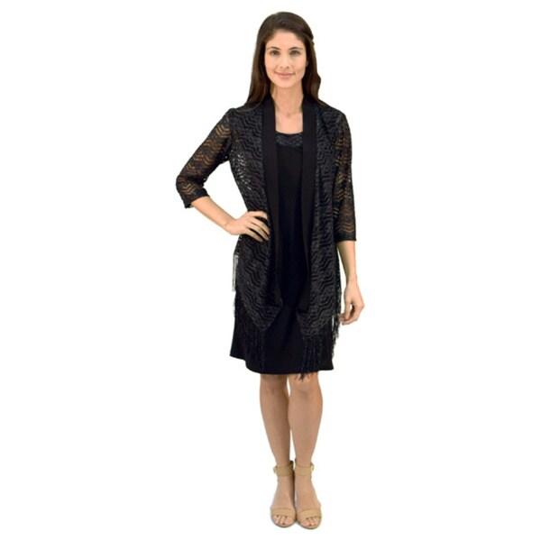 R&M Richards Fringe Crochet Jacket Dress