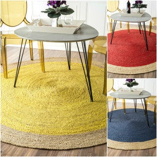 nuLOOM Alexa Eco Natural Fiber Braided Reversible Border Jute Rug (8' Round)