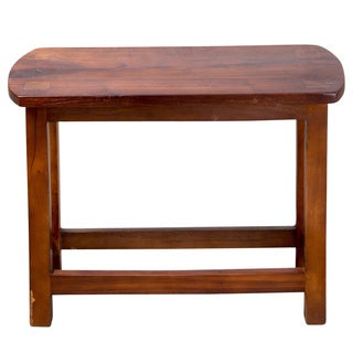 Dark Natural Wood Milking Bench (India)