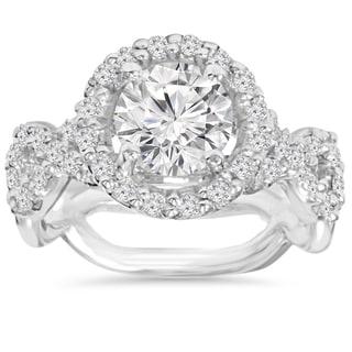 14k White Gold 3 ct TDW Clarity Enhanced Diamond Round Engagement Ring (H-I1, I1-I2)