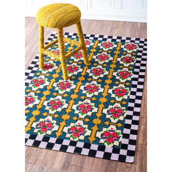 nuLOOM Floral Tile Checkered Printed Jute Multi Rug (4' x 6')