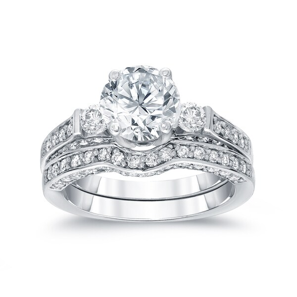 Auriya 14k White Gold 2ct TDW Round Diamond Bridal Ring Set (H-I, SI2-SI3) 15959223