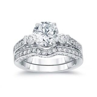 Auriya 14k White Gold 2ct TDW Round Diamond Bridal Ring Set (H-I, SI2-SI3)