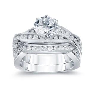 Auriya 14k White Gold 2ct TDW Round Cut Diamond Bridal Ring Set (H-I, SI2-SI3)