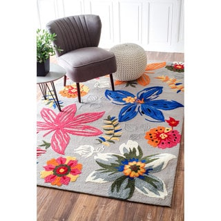 nuLOOM Handmade Modern Floral Multi Rug (8' x 10')