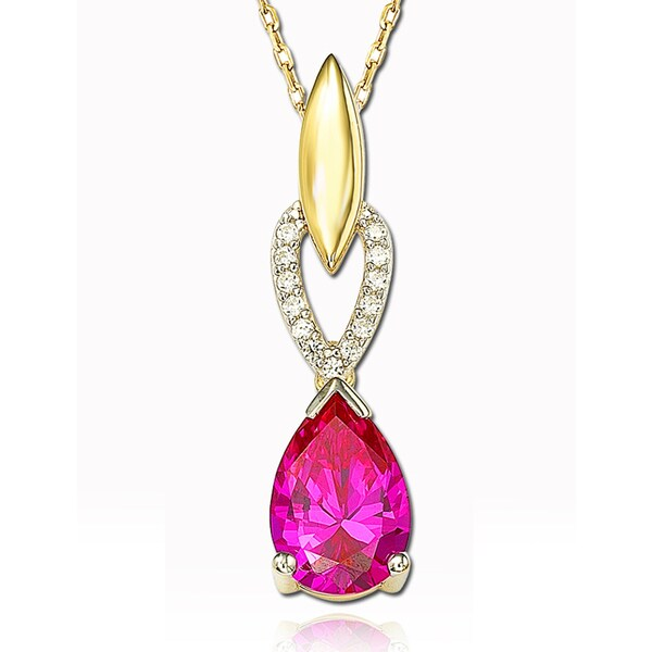 Suzy Levian Cubic Zirconia Sterling Silver Pear Shaped Pendant
