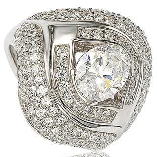 Suzy Levian Sterling Silver Cubic Zirconia Vintage Bridal Ring