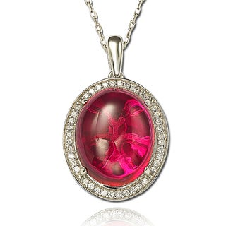 Suzy Levian Created Ruby Sterling Silver & 18K Gold Oval Cabachon & Halo Pendant