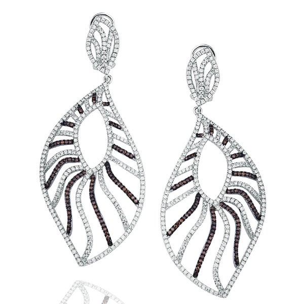 Suzy Levian Pave Cubic Zirconia Sterling Silver Feather Dangle Earrings