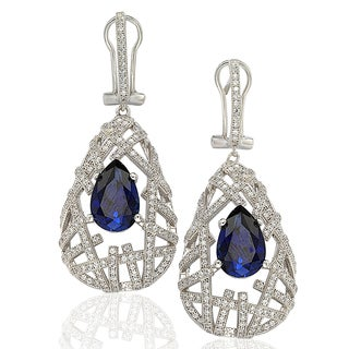 Suzy Levian Sterling Silver Cubic Zirconia Blue Pear Solitaire Earrings