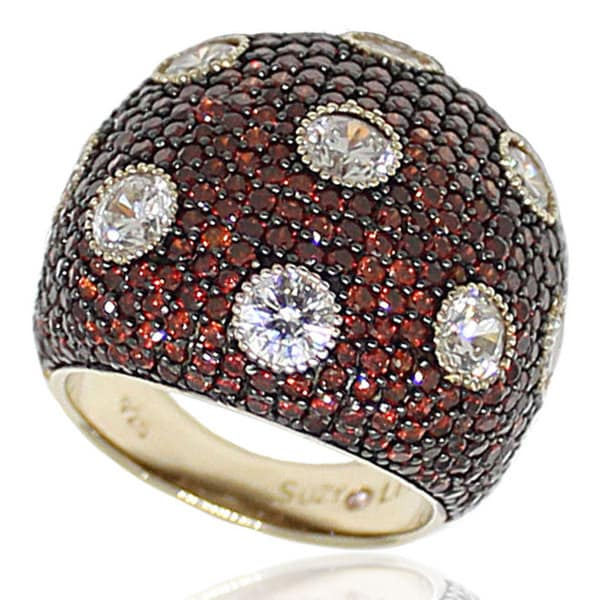 Suzy Levian Sterling Silver Pave Cubic Zirconia Strawberry Chocolate Ring