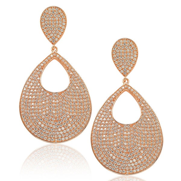 Suzy Levian Sterling Silver Cubic Zirconia Tear Drop Pave Earrings