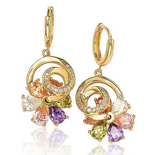 Suzy Levian 14K Gold Plated Sterling Silver Cubic Zirconia Multi-Color Flower Spinner Earrings