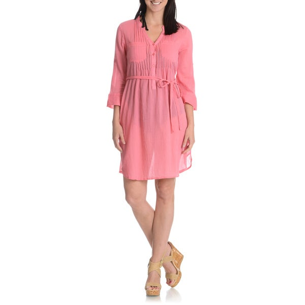 La Cera Women's Self Belted Shirt Dress
