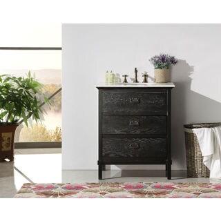 Legion Furniture 30-inch Black Solid Wood Single Sink Vanity with Marble Top