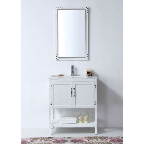 30-inch White Color Wood Sink Vanity with Ceramic Top