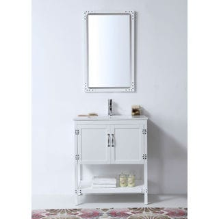 Legion Furniture 30-inch White Solid Wood Single Sink Vanity with Ceramic Top