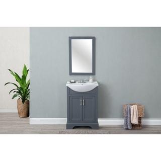 Legion Furniture 24-inch Dark Grey Single Sink Vanity with Mirror