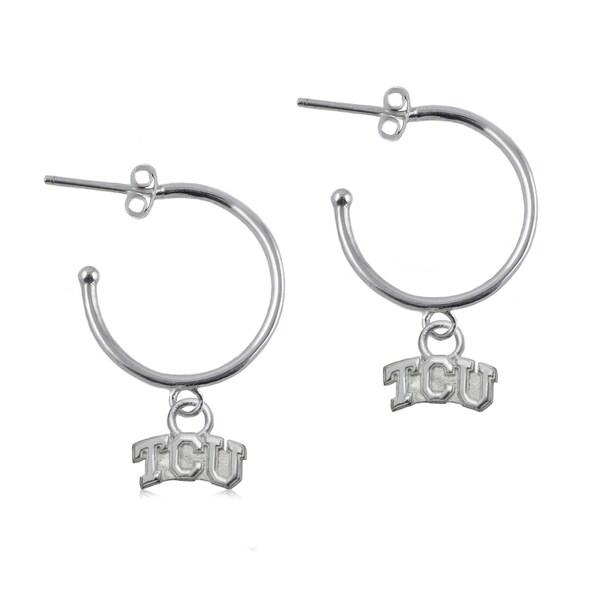 TCU Sterling Silver Hoop Earrings