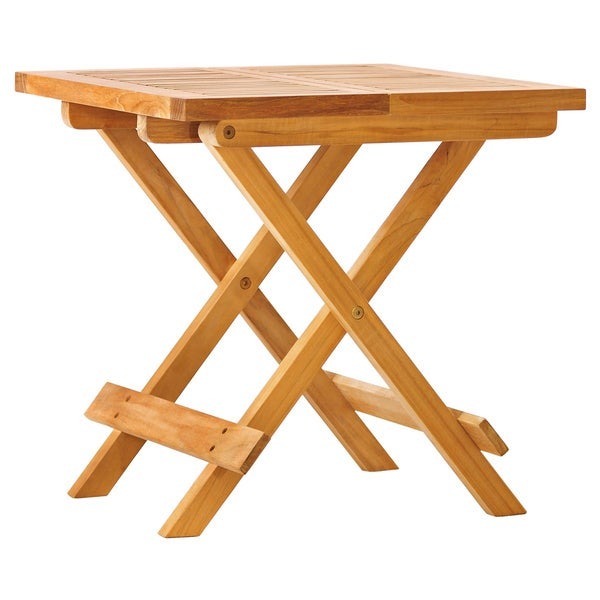 Solid Teak 19-inch Square Folding Table