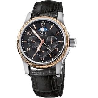 Oris Men's 58276274364LS 'Big Crown' 18kt Rose Gold Automatic Black Leather Watch