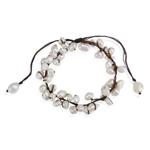 Handmade Summer Breeze Beaded White Cultured Pearl Pull Anklet (Thailand) 15960486