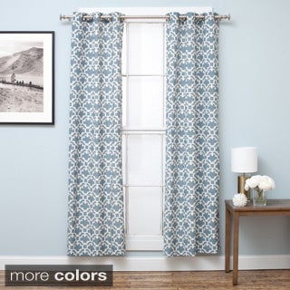 Home Fashion Designs Wakefield Collection Printed Cotton Rich Room Darkening Grommet Curtain Panels - 38x84 inches - 2-Panel Set