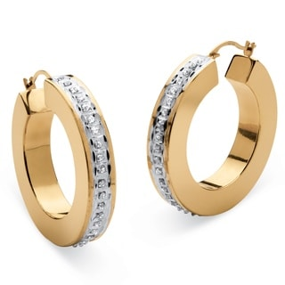 PalmBeach 14k Yellow Gold Diamond Accent Fascination Flat Hoop Earrings